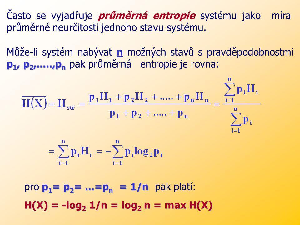 Xnx i p i Entropie náhodné veličiny X, která nabývá n hodnot x i s příslušnými pravděpodobnostmi p i, má tyto základní vlastnosti: Entropie je spojitá