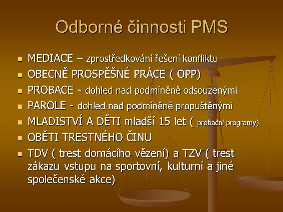 Odborné činnosti PMS MEDIACE – zprostředkování řešení konfliktu MEDIACE – zprostředkování řešení konfliktu OBECNĚ PROSPĚŠNÉ PRÁCE ( OPP) OBECNĚ PROSPĚ