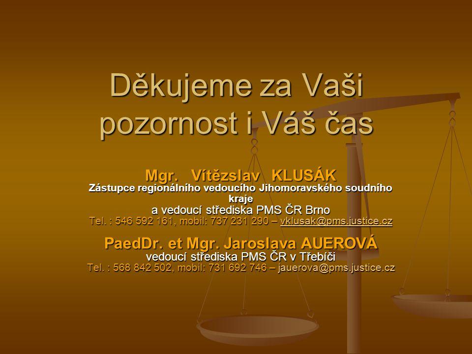 Děkujeme za Vaši pozornost i Váš čas Mgr. Vítězslav KLUSÁK Zástupce regionálního vedoucího Jihomoravského soudního kraje a vedoucí střediska PMS ČR Br