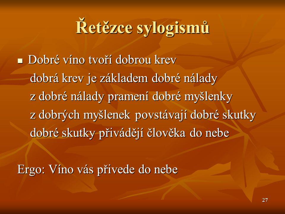 27 Řetězce sylogismů Dobré víno tvoří dobrou krev Dobré víno tvoří dobrou krev dobrá krev je základem dobré nálady dobrá krev je základem dobré nálady