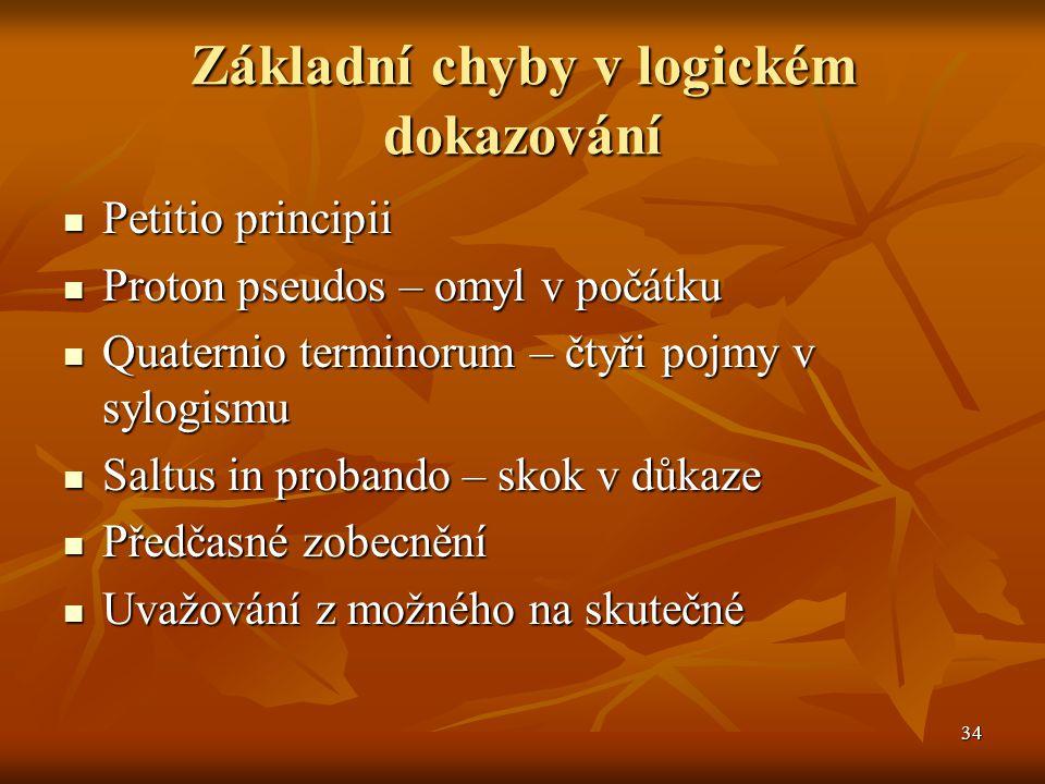 34 Základní chyby v logickém dokazování Petitio principii Petitio principii Proton pseudos – omyl v počátku Proton pseudos – omyl v počátku Quaternio