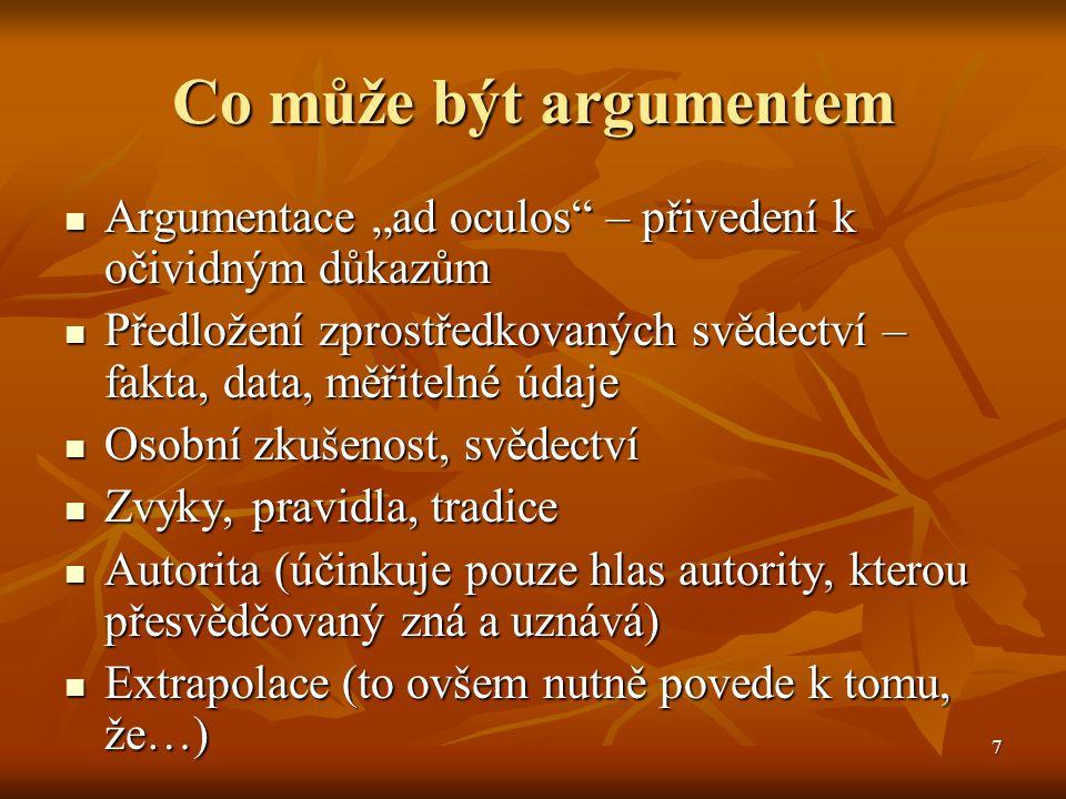 """7 Co může být argumentem Argumentace """"ad oculos"""" – přivedení k očividným důkazům Argumentace """"ad oculos"""" – přivedení k očividným důkazům Předložení zp"""