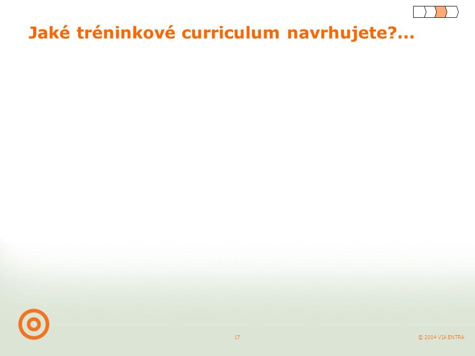 © 2004 VIA ENTRA 17 Jaké tréninkové curriculum navrhujete ...
