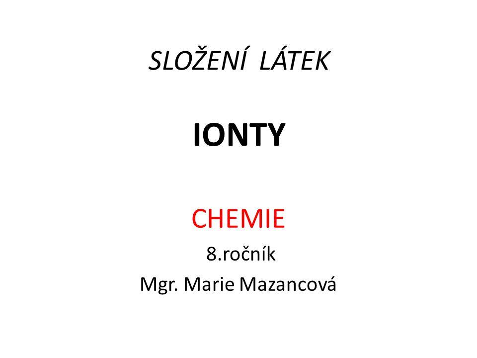 SLOŽENÍ LÁTEK IONTY CHEMIE 8.ročník Mgr. Marie Mazancová