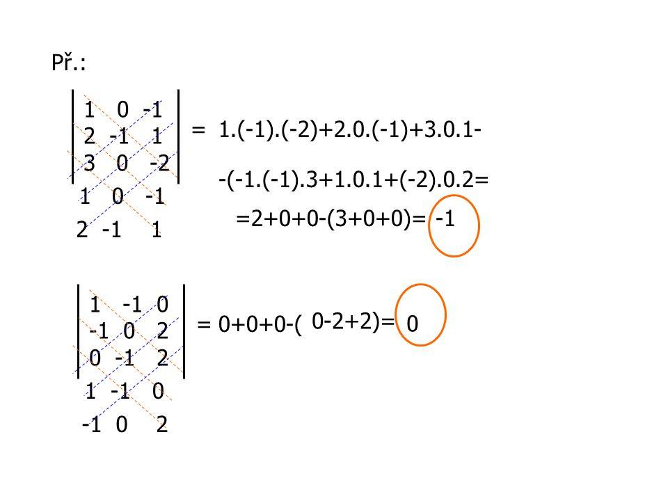 Př.: = 1-1 0 -1 0 2 0 -1 2 1 -1 0 -1 0 2 0+0+0-( 0 = 10 -1 2 -1 1 3 0 -2 1 0 -1 2 -1 1 1.(-1).(-2)+2.0.(-1)+3.0.1- -(-1.(-1).3+1.0.1+(-2).0.2= =2+0+0-