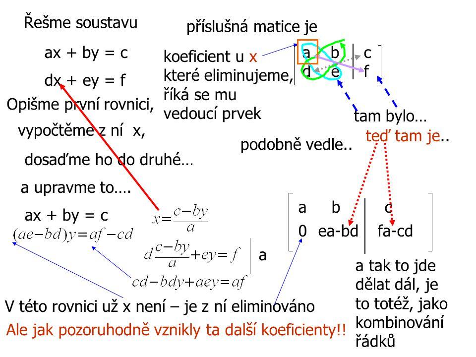 Řešme soustavu ax + by = c dx + ey = f příslušná matice je Opišme první rovnici, vypočtěme z ní x, ax + by = c a b c d e f dosaďme ho do druhé… a upra
