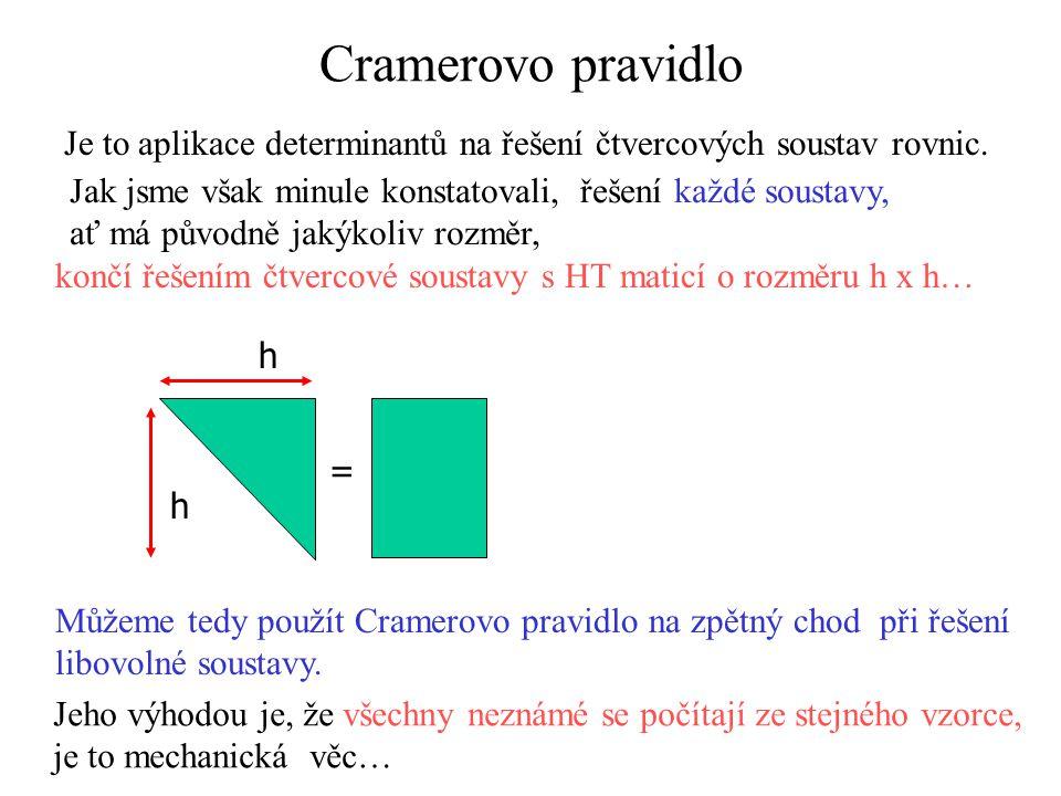 Cramerovo pravidlo Je to aplikace determinantů na řešení čtvercových soustav rovnic. Jak jsme však minule konstatovali, řešení každé soustavy, ať má p