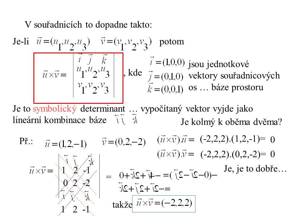 V souřadnicích to dopadne takto: Je-lipotom, kde jsou jednotkové vektory souřadnicových os … báze prostoru Je to symbolický determinant … vypočítaný v