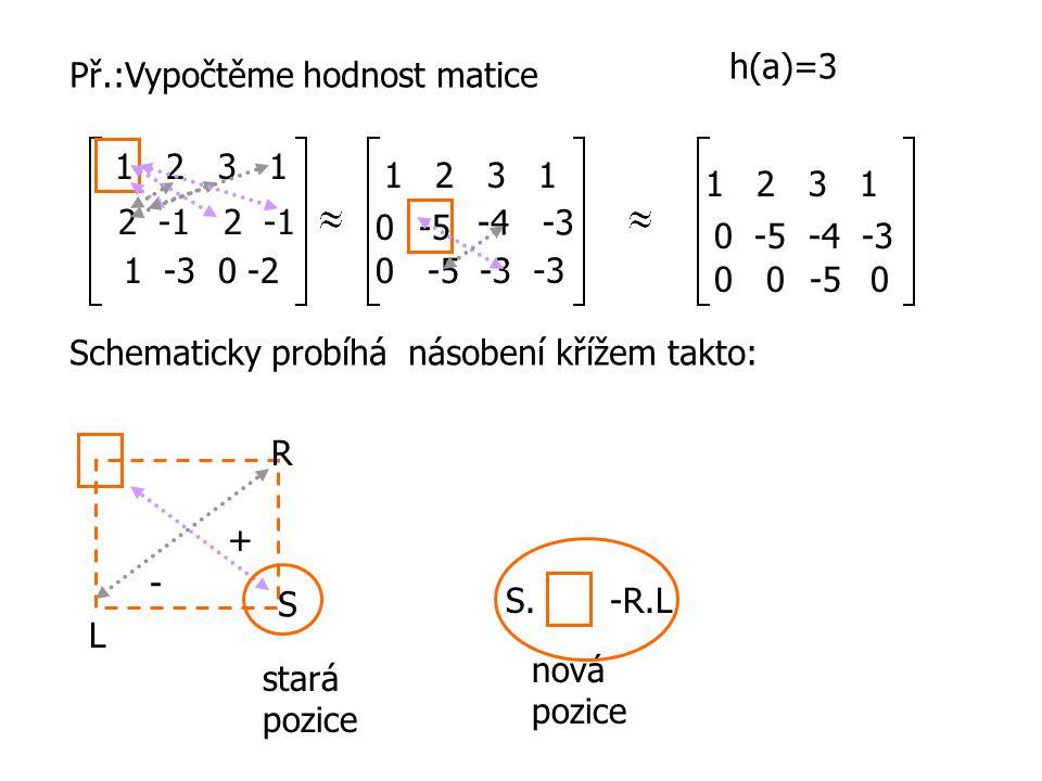Př.:Vypočtěme hodnost matice 1 2 3 1 2 -1 1 -3 0 -2 1 2 3 1 0-5 -4 -3 0-5-3 1 2 3 1 0 -5 -4 -3 00-50 h(a)=3 Schematicky probíhá násobení křížem takto: