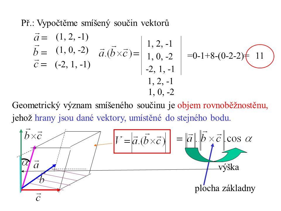 Př.: Vypočtěme smíšený součin vektorů (1, 2, -1) (1, 0, -2) (-2, 1, -1) 1, 2, -1 1, 0, -2 -2, 1, -1 1, 0, -2 1, 2, -1 =0-1+8-(0-2-2)=11 Geometrický vý
