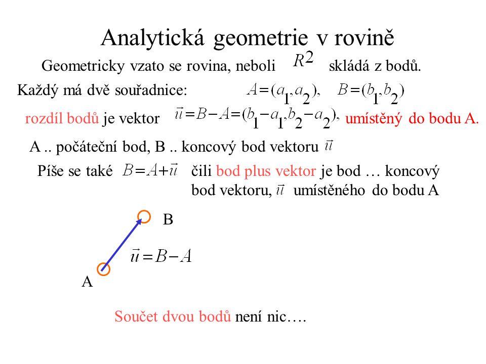 Analytická geometrie v rovině Geometricky vzato se rovina, neboli skládá z bodů. Každý má dvě souřadnice: rozdíl bodů je vektorumístěný do bodu A. A..