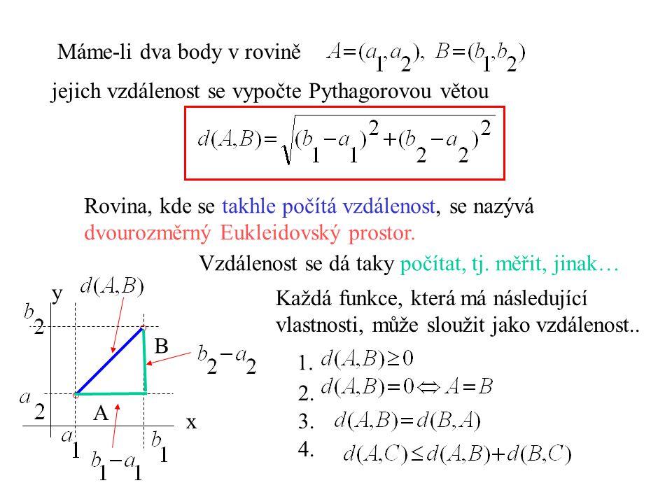 A B x y Máme-li dva body v rovině jejich vzdálenost se vypočte Pythagorovou větou Rovina, kde se takhle počítá vzdálenost, se nazývá dvourozměrný Eukl