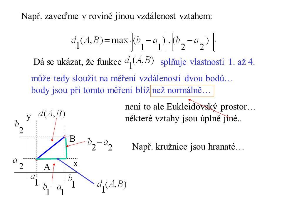 Např. zaveďme v rovině jinou vzdálenost vztahem: A B x y Dá se ukázat, že funkcesplňuje vlastnosti 1. až 4. může tedy sloužit na měření vzdálenosti dv