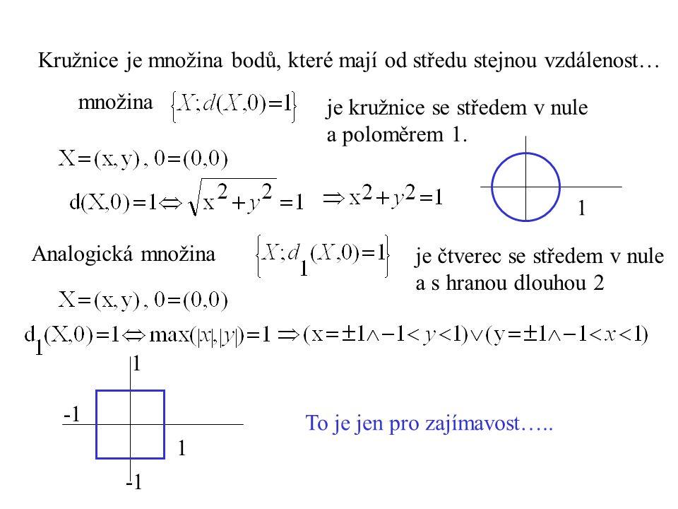 množina je kružnice se středem v nule a poloměrem 1. Analogická množina je čtverec se středem v nule a s hranou dlouhou 2 1 1 1 To je jen pro zajímavo