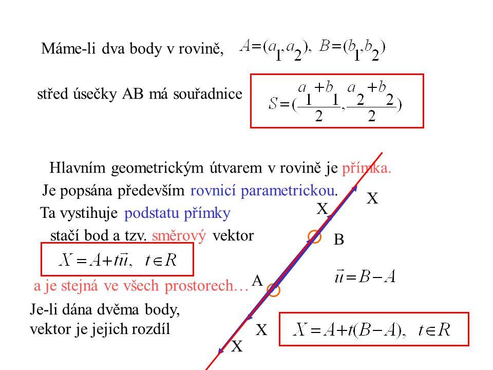 Máme-li dva body v rovině, střed úsečky AB má souřadnice Hlavním geometrickým útvarem v rovině je přímka. Je popsána především rovnicí parametrickou.