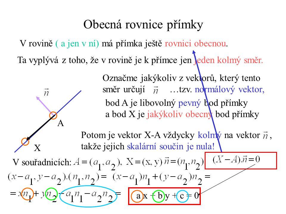 Obecná rovnice přímky V rovině ( a jen v ní) má přímka ještě rovnici obecnou. Ta vyplývá z toho, že v rovině je k přímce jen jeden kolmý směr. Označme