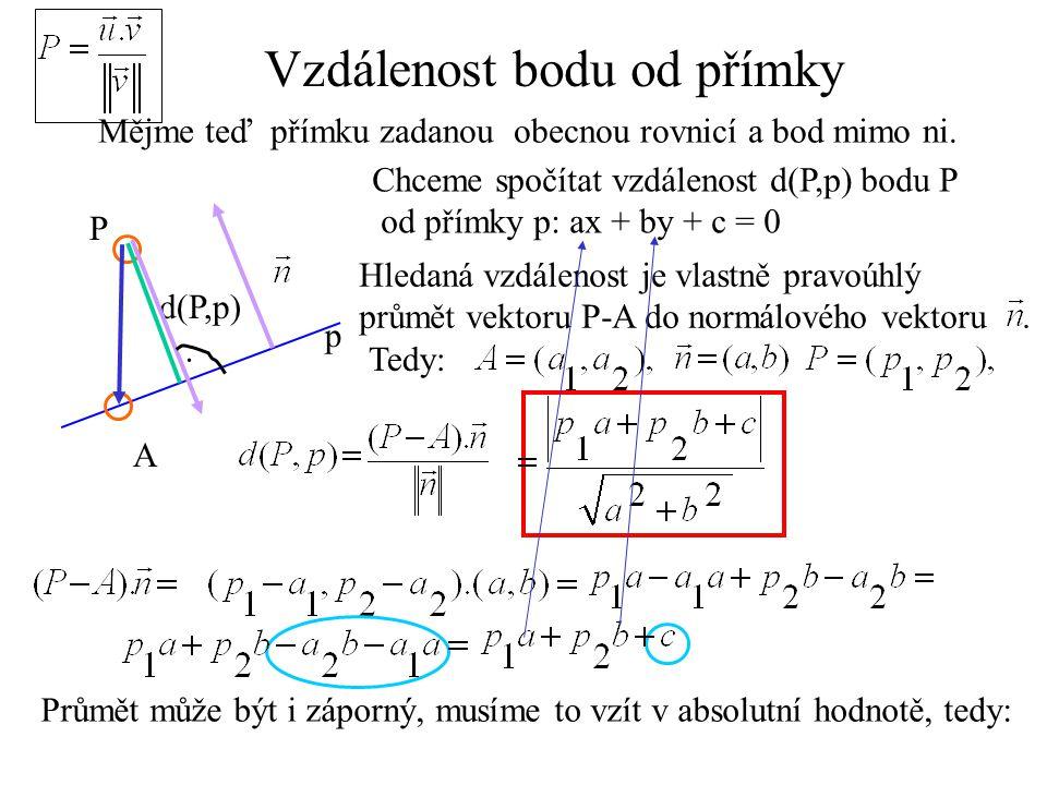 Vzdálenost bodu od přímky Mějme teď přímku zadanou obecnou rovnicí a bod mimo ni. P A Chceme spočítat vzdálenost d(P,p) bodu P od přímky p: ax + by +