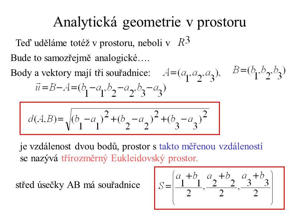 Analytická geometrie v prostoru Teď uděláme totéž v prostoru, neboli v Bude to samozřejmě analogické…. Body a vektory mají tři souřadnice: je vzdáleno