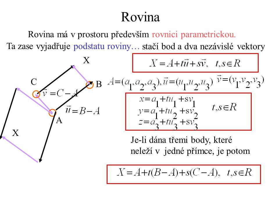 Rovina Rovina má v prostoru především rovnici parametrickou. Ta zase vyjadřuje podstatu roviny… stačí bod a dva nezávislé vektory A B C X X Je-li dána