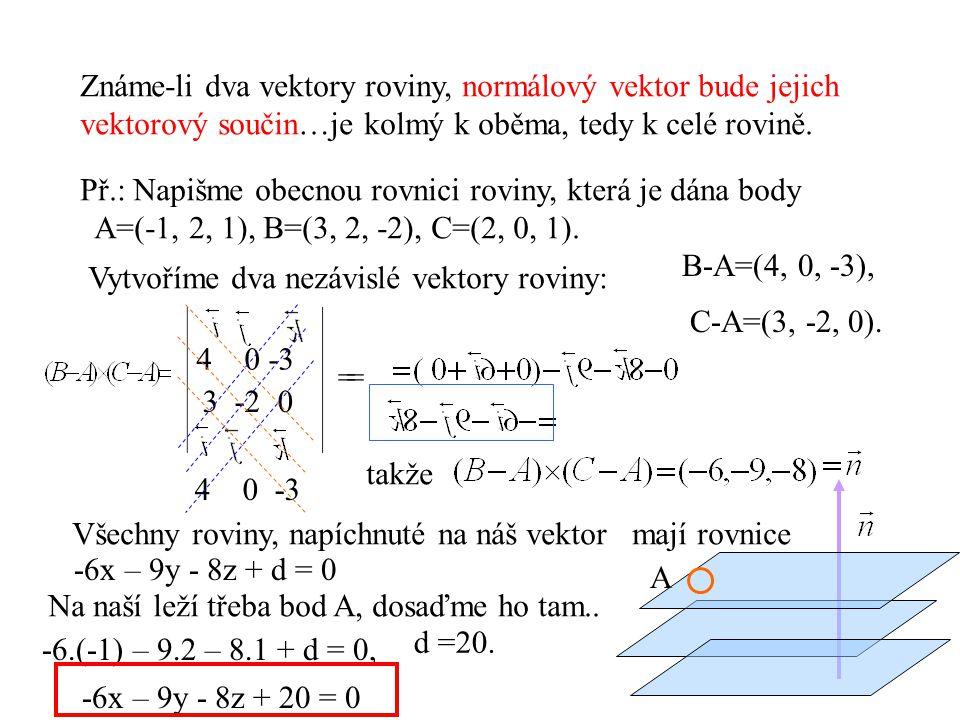 Známe-li dva vektory roviny, normálový vektor bude jejich vektorový součin…je kolmý k oběma, tedy k celé rovině. Př.: Napišme obecnou rovnici roviny,