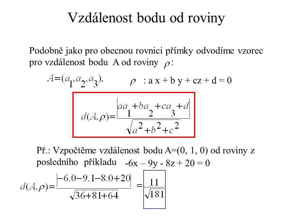Vzdálenost bodu od roviny Podobně jako pro obecnou rovnici přímky odvodíme vzorec pro vzdálenost bodu A od roviny : : a x + b y + cz + d = 0 Př.: Vzpo
