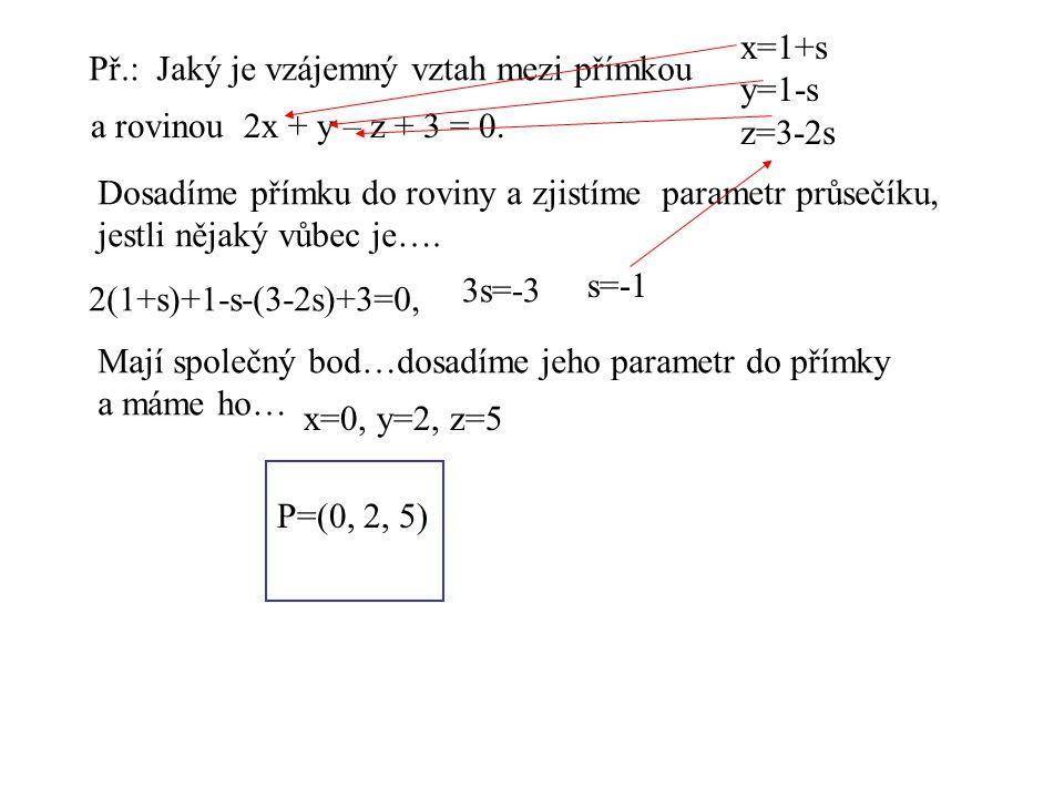 x=1+s y=1-s z=3-2s Př.: Jaký je vzájemný vztah mezi přímkou a rovinou 2x + y – z + 3 = 0. Dosadíme přímku do roviny a zjistíme parametr průsečíku, jes