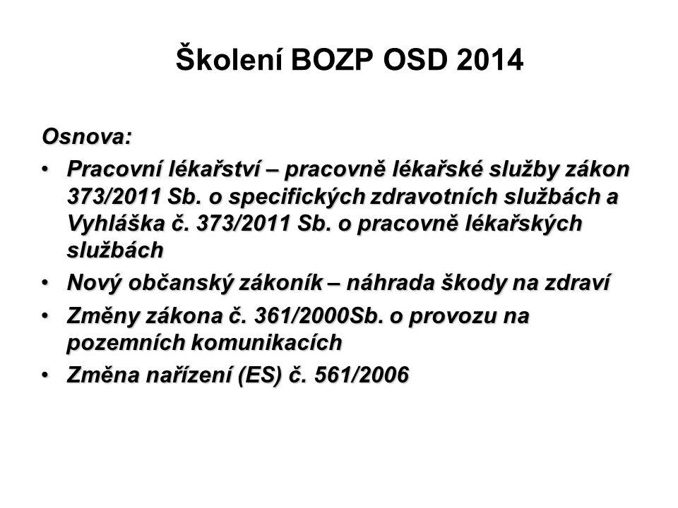 Školení BOZP OSD 2014 Osnova: Pracovní lékařství – pracovně lékařské služby zákon 373/2011 Sb. o specifických zdravotních službách a Vyhláška č. 373/2