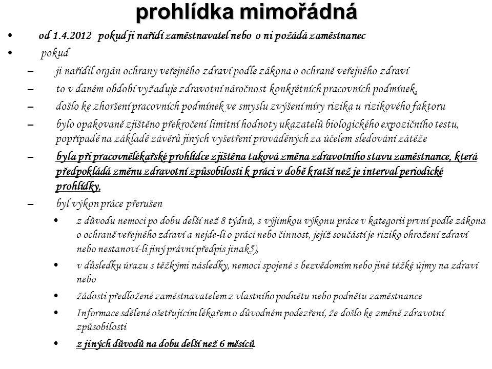 prohlídka mimořádná od 1.4.2012 pokud ji nařídí zaměstnavatel nebo o ni požádá zaměstnanec pokud –ji nařídil orgán ochrany veřejného zdraví podle záko