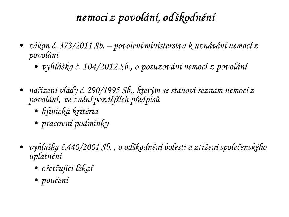 nemoci z povolání, odškodnění zákon č. 373/2011 Sb. – povolení ministerstva k uznávání nemocí z povolání vyhláška č. 104/2012 Sb., o posuzování nemocí