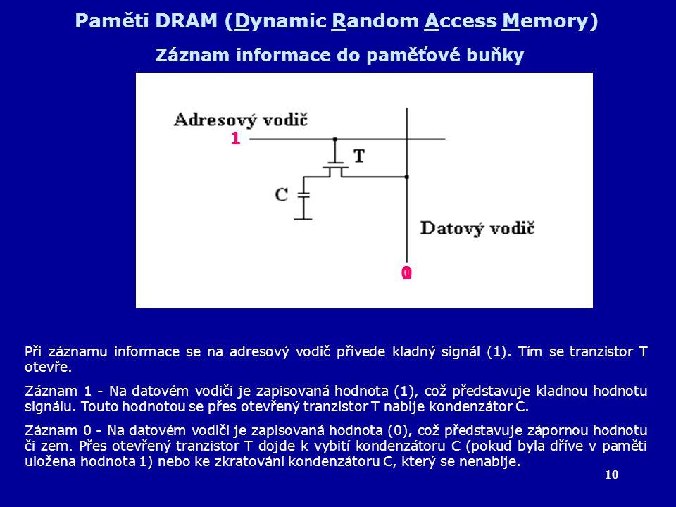 10 Paměti DRAM (Dynamic Random Access Memory) Záznam informace do paměťové buňky Při záznamu informace se na adresový vodič přivede kladný signál (1).