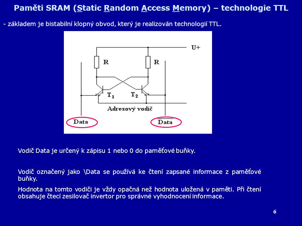 7 Paměti SRAM (Static Random Access Memory) – technologie TTL Záznam informace do paměťové buňky V klidovém stavu je předpětí na vodičích DATA a /DATA +1,5 V; na adresovém vodiči je +0,3 V.