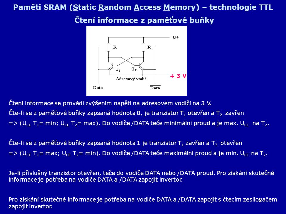 8 Paměti SRAM (Static Random Access Memory) – technologie TTL Čtení informace z paměťové buňky Čtení informace se provádí zvýšením napětí na adresovém