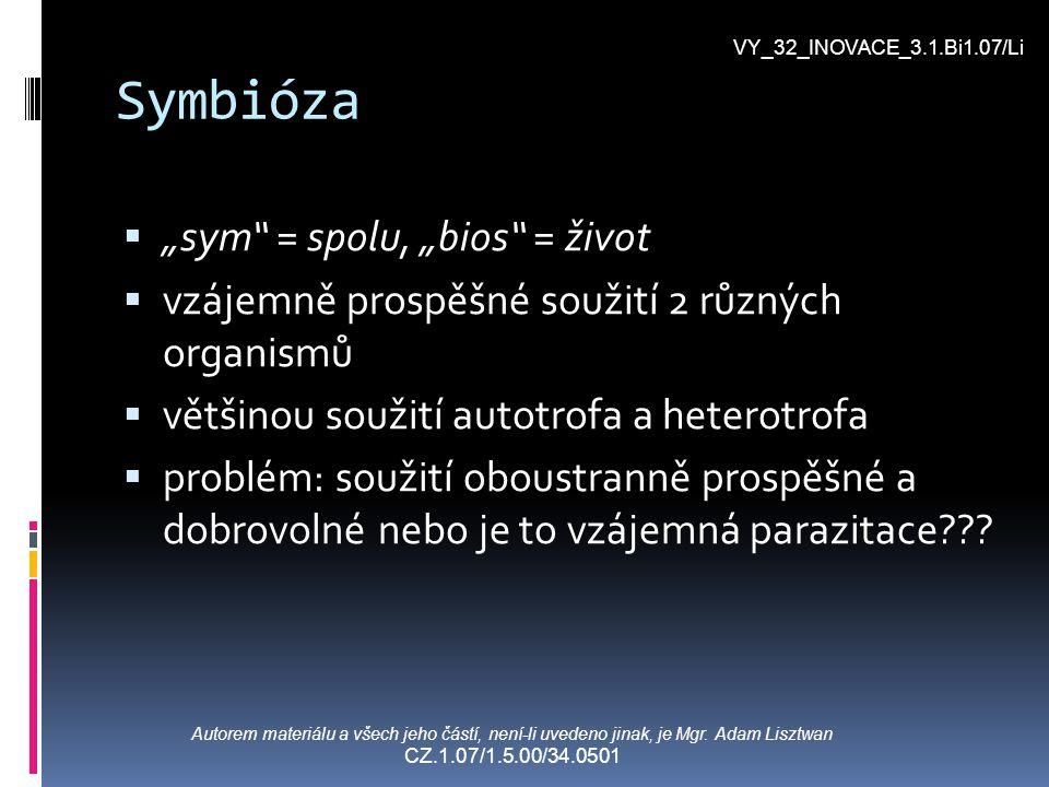 """Symbióza """"""""sym"""" = spolu, """"bios"""" = život vvzájemně prospěšné soužití 2 různých organismů vvětšinou soužití autotrofa a heterotrofa pproblém: so"""