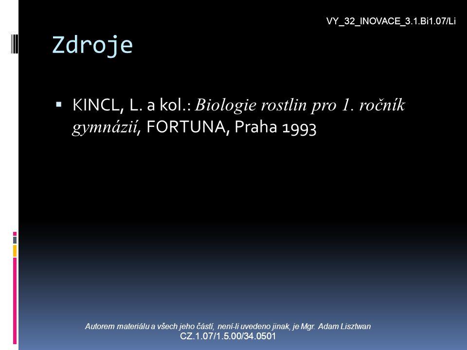 Zdroje  KINCL, L. a kol.: Biologie rostlin pro 1. ročník gymnázií, FORTUNA, Praha 1993 VY_32_INOVACE_3.1.Bi1.07/Li Autorem materiálu a všech jeho čás
