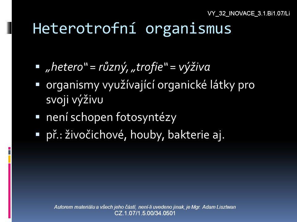 Heterotrofní výživa SSAPROFYTISMUS (saprofyté) PPARAZITISMUS (parazité) MMIXOTROFIE (mixotrofy) SSYMBIÓZA (symbionti) VY_32_INOVACE_3.1.Bi1.07/Li Autorem materiálu a všech jeho částí, není-li uvedeno jinak, je Mgr.