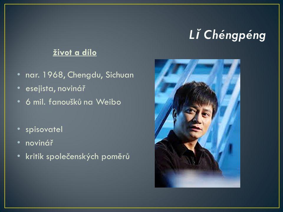 život a dílo nar. 1968, Chengdu, Sichuan esejista, novinář 6 mil.