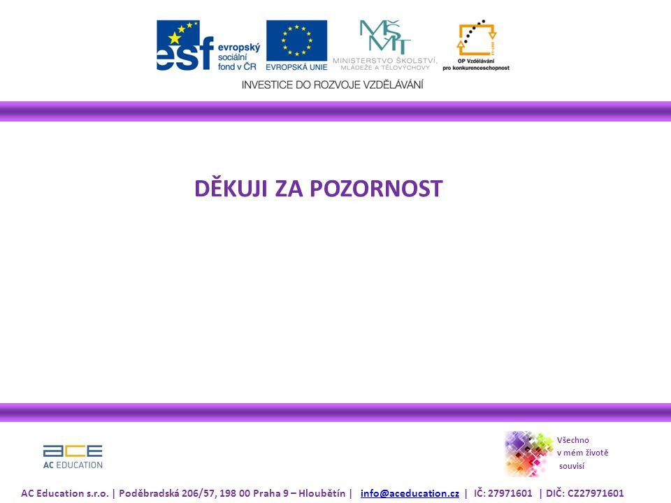 DĚKUJI ZA POZORNOST Všechno v mém životě souvisí AC Education s.r.o. | Poděbradská 206/57, 198 00 Praha 9 – Hloubětín | info@aceducation.cz | IČ: 2797