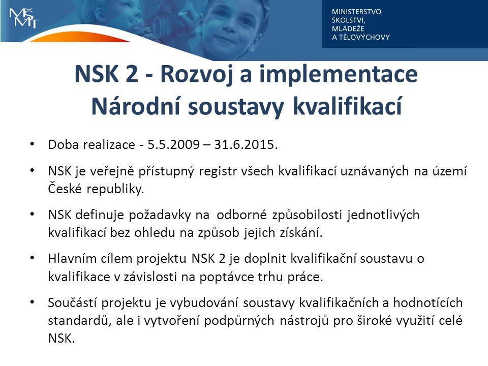 NSK 2 - Rozvoj a implementace Národní soustavy kvalifikací Doba realizace - 5.5.2009 – 31.6.2015.