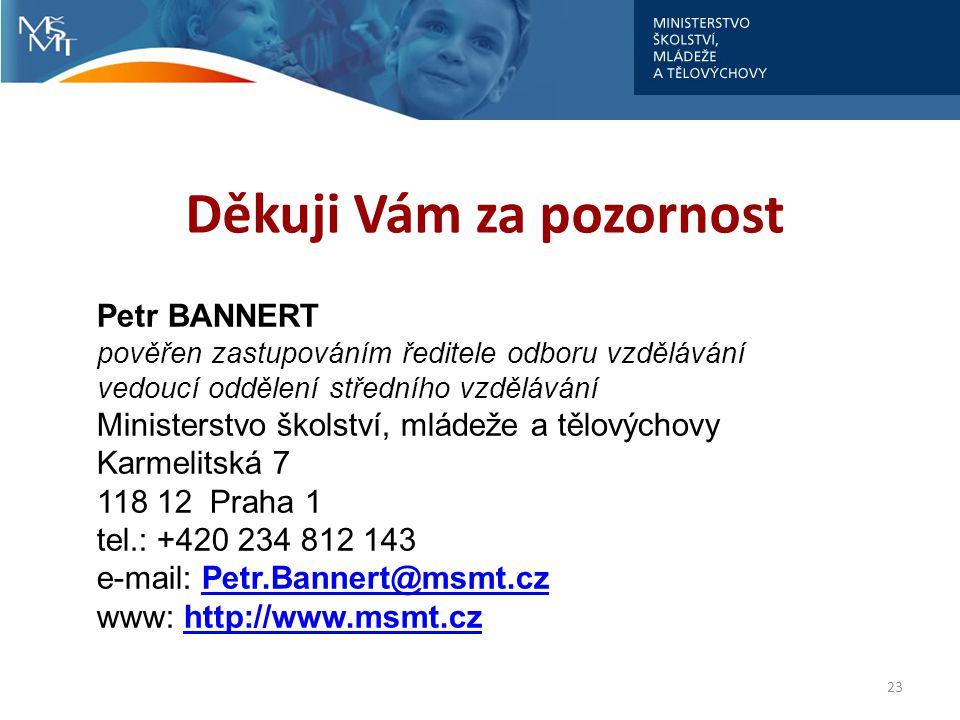 Děkuji Vám za pozornost 23 Petr BANNERT pověřen zastupováním ředitele odboru vzdělávání vedoucí oddělení středního vzdělávání Ministerstvo školství, mládeže a tělovýchovy Karmelitská 7 118 12 Praha 1 tel.: +420 234 812 143 e-mail: Petr.Bannert@msmt.czPetr.Bannert@msmt.cz www: http://www.msmt.czhttp://www.msmt.cz