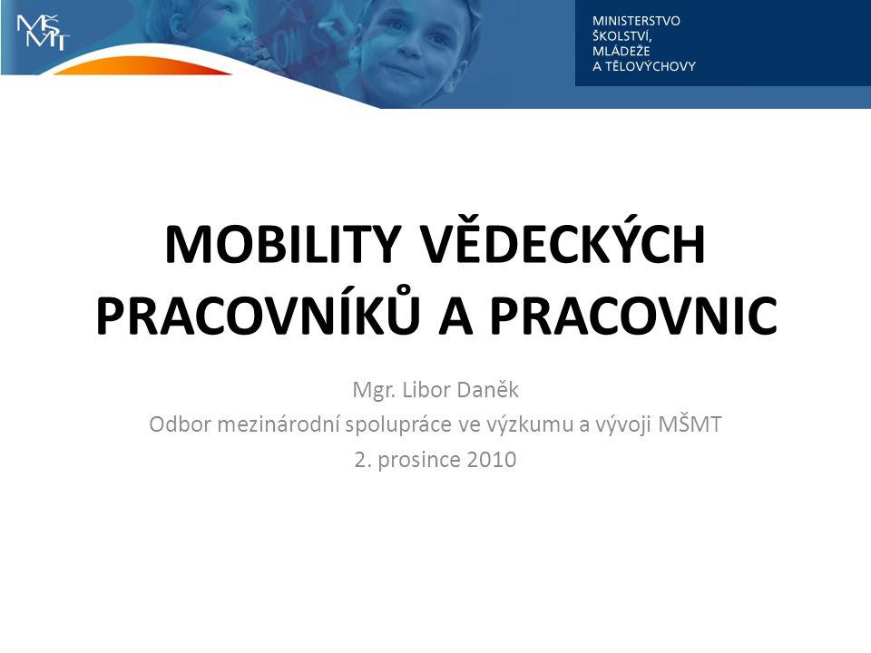 MOBILITY VĚDECKÝCH PRACOVNÍKŮ A PRACOVNIC Mgr.