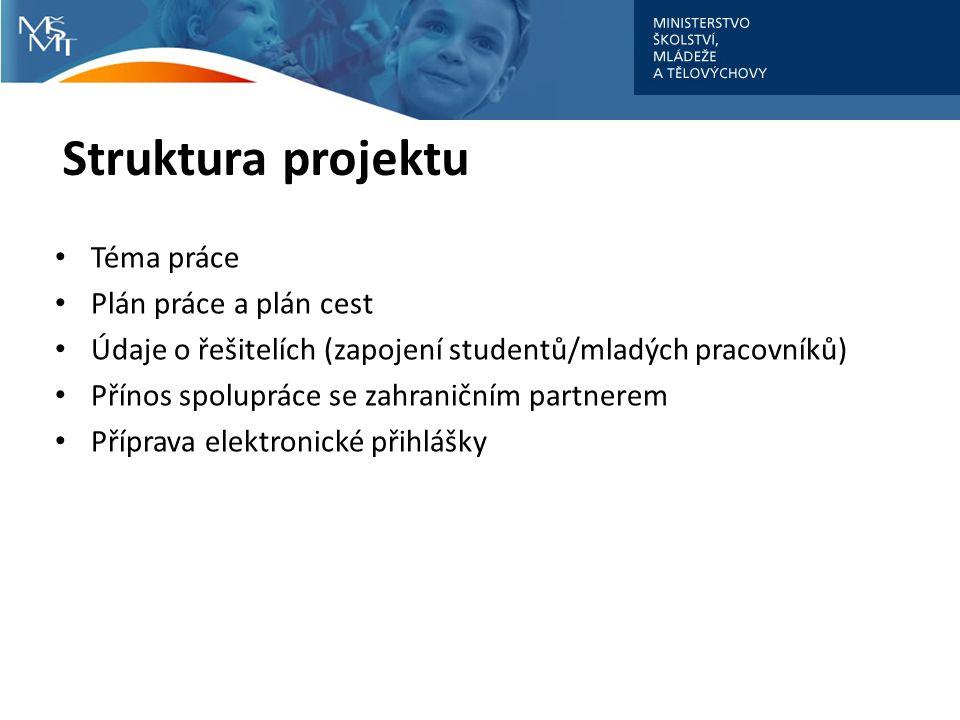 Struktura projektu Téma práce Plán práce a plán cest Údaje o řešitelích (zapojení studentů/mladých pracovníků) Přínos spolupráce se zahraničním partnerem Příprava elektronické přihlášky