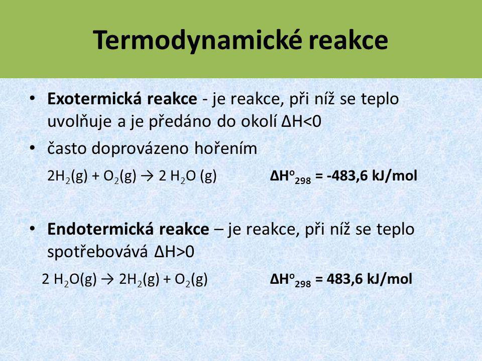 Termodynamické reakce Exotermická reakce - je reakce, při níž se teplo uvolňuje a je předáno do okolí ΔH<0 často doprovázeno hořením 2H 2 (g) + O 2 (g) → 2 H 2 O (g) ΔH o 298 = -483,6 kJ/mol Endotermická reakce – je reakce, při níž se teplo spotřebovává ΔH>0 2 H 2 O(g) → 2H 2 (g) + O 2 (g) ΔH o 298 = 483,6 kJ/mol