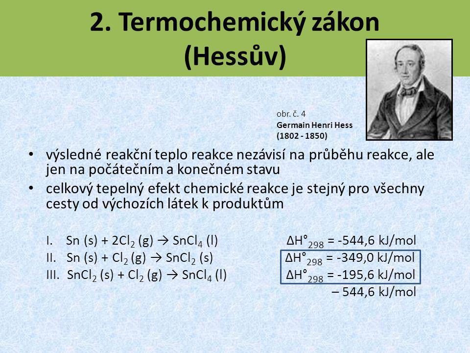 2. Termochemický zákon (Hessův) výsledné reakční teplo reakce nezávisí na průběhu reakce, ale jen na počátečním a konečném stavu celkový tepelný efekt