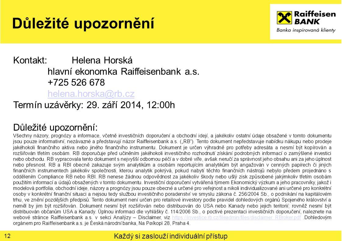 Každý si zaslouží individuální přístup Důležité upozornění 12 Kontakt: Helena Horská hlavní ekonomka Raiffeisenbank a.s. +725 526 678 helena.horska@rb