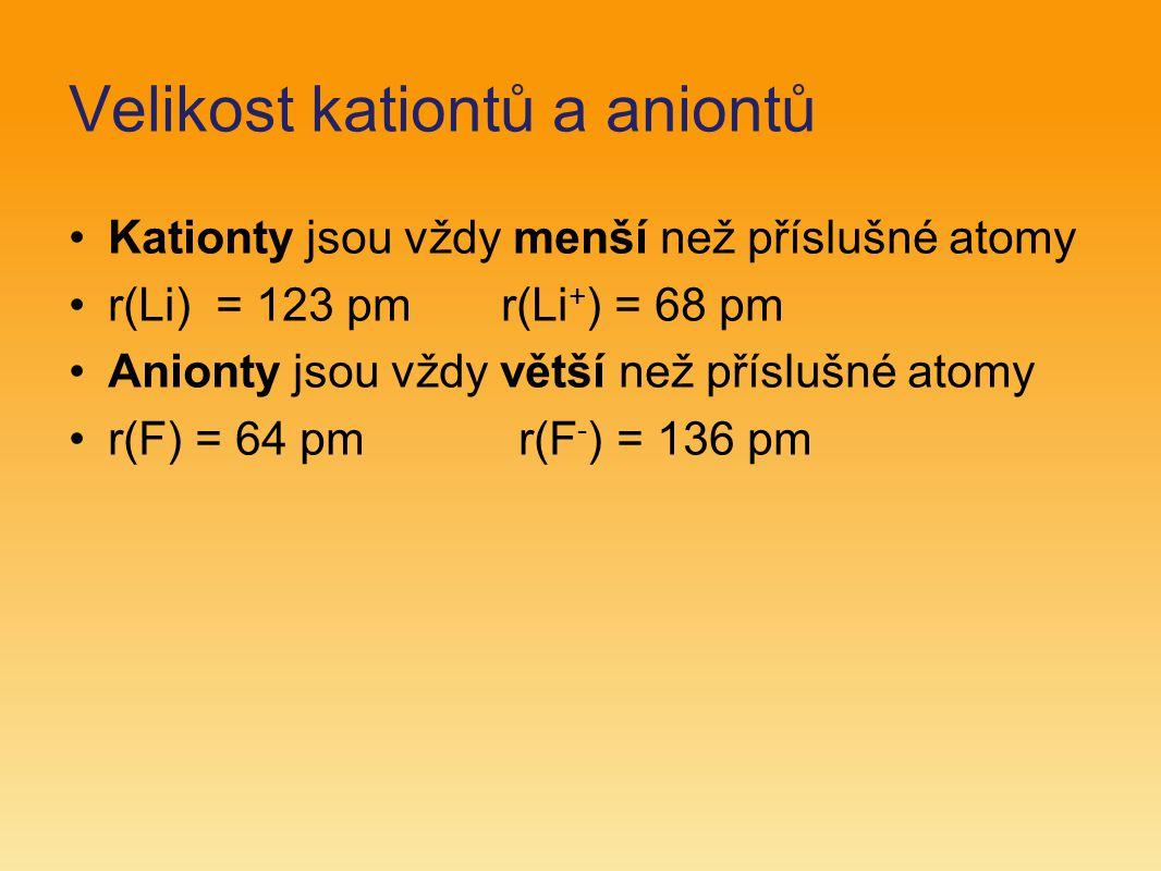 Velikost kationtů a aniontů Kationty jsou vždy menší než příslušné atomy r(Li) = 123 pm r(Li + ) = 68 pm Anionty jsou vždy větší než příslušné atomy r