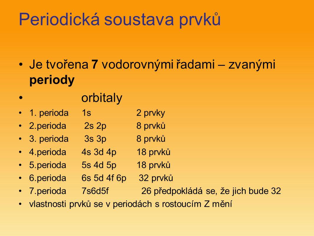 Periodická soustava prvků Je tvořena 7 vodorovnými řadami – zvanými periody orbitaly 1. perioda 1s 2 prvky 2.perioda 2s 2p 8 prvků 3. perioda 3s 3p 8