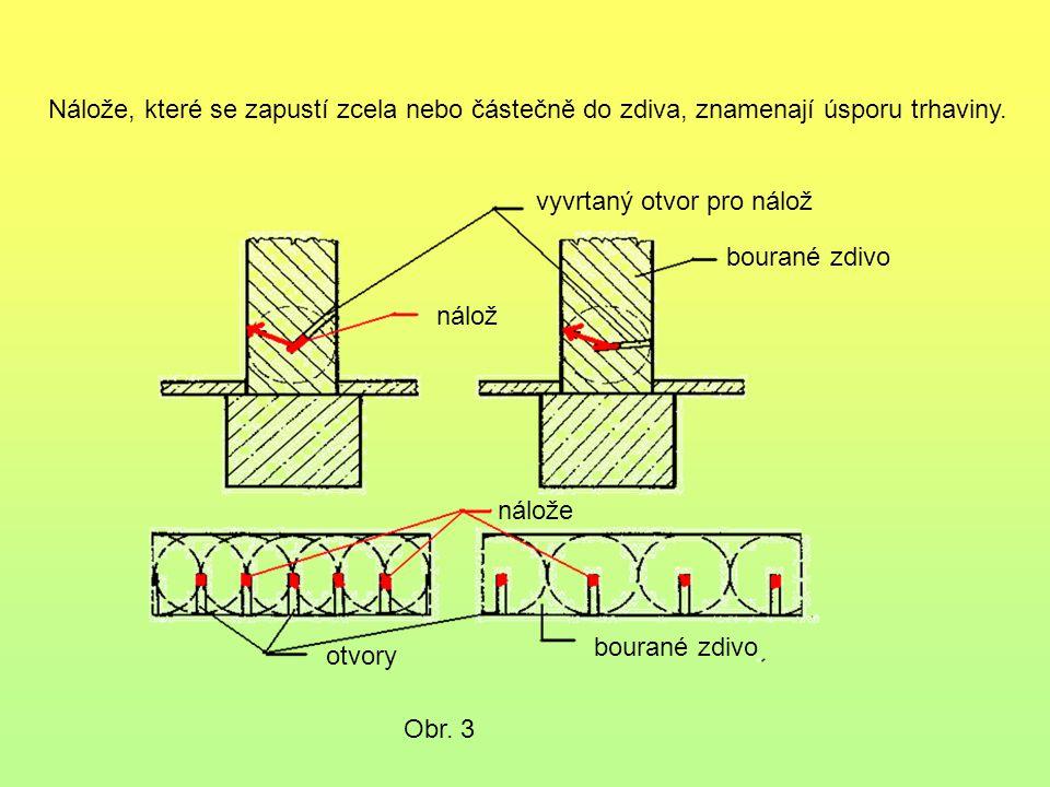 Nálože, které se zapustí zcela nebo částečně do zdiva, znamenají úsporu trhaviny. Obr. 3 vyvrtaný otvor pro nálož bourané zdivo nálož nálože otvory bo