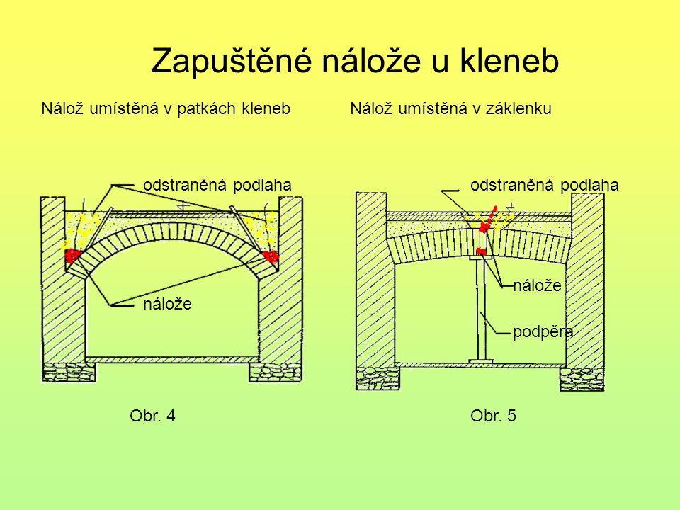Obr. 4 Zapuštěné nálože u kleneb Nálož umístěná v patkách kleneb odstraněná podlaha nálože Nálož umístěná v záklenku odstraněná podlaha nálože podpěra