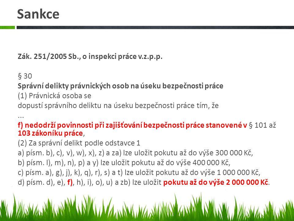 Sankce Zák. 251/2005 Sb., o inspekci práce v.z.p.p.