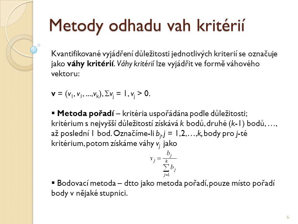 Metody odhadu vah kritérií 6 Kvantifikované vyjádření důležitosti jednotlivých kriterií se označuje jako váhy kritérií.
